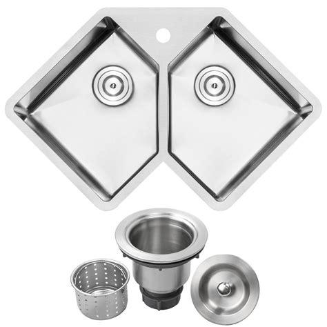 ticor bradford corner undermount  gauge stainless steel    hole double basin kitchen