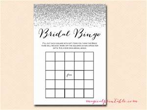 Printable Editable Recipe Cards Silver Glitter Bridal Shower Game Pack Magical Printable