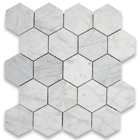 shop houzz center carrara marble hexagon