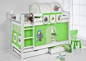 Hochbett Kinder Weiß : etagenbett hochbett kinder bett aus massiver kiefer jelle wei vorhang ebay ~ Whattoseeinmadrid.com Haus und Dekorationen