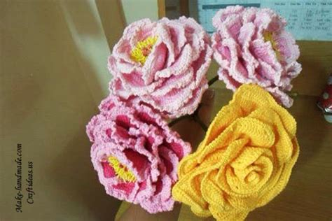 crochet peony flowers  beautiful bouquet craft ideas