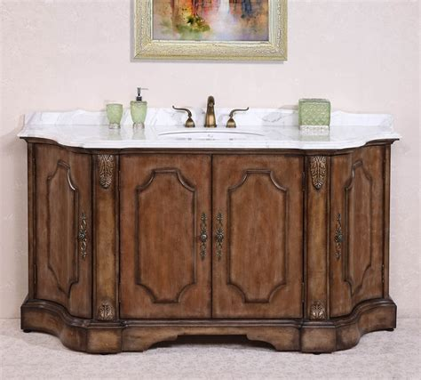 large distressed single sink bathroom vanity