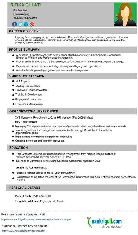 Hr Resume by How To Write Hr Resume Hr Cv Format And Sle