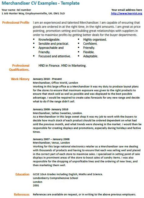 merchandiser cv exle learnist org