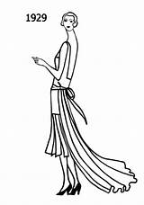 Flapper Drawing 1920s Sketches Silhouettes Drawings Line Era Silhouette Flappers 1929 Costume History Coloring 1920 Dresses 1930 Detailed Outfits 1928 sketch template