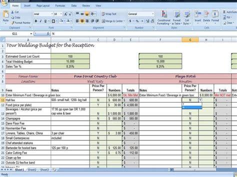 wedding planner reception budget worksheet wedding