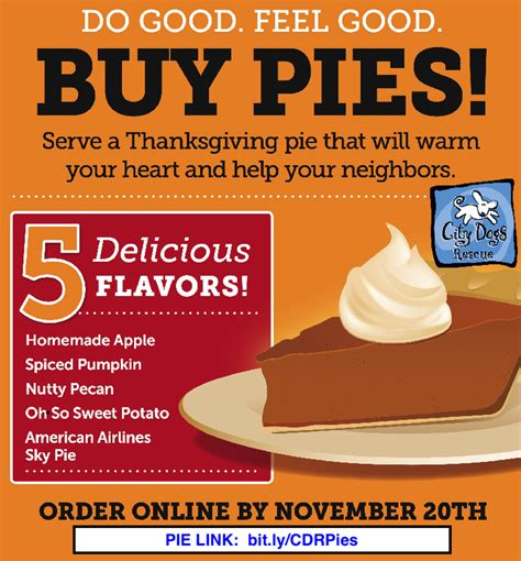 order pie it s back time to order thanksgiving pies city dogs rescue city kitties washington dc