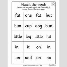Kindergarten, Preschool Reading Worksheets Matching Words #2 Greatschools
