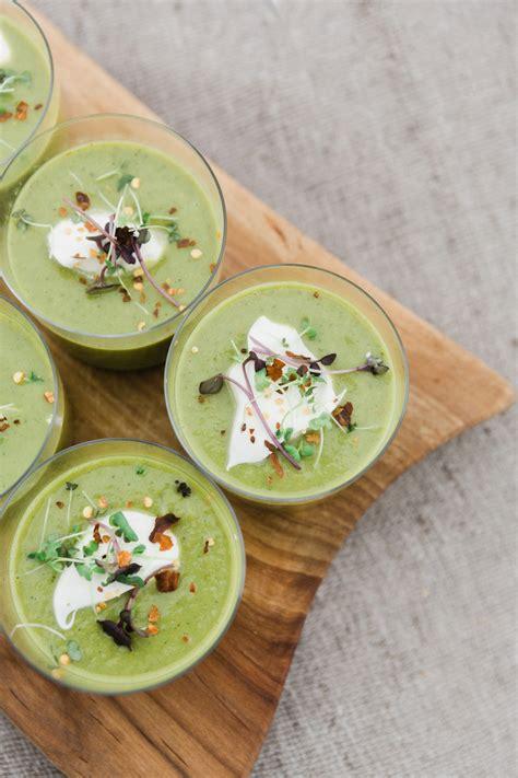chilled pea soup  creme fraiche  micro greens