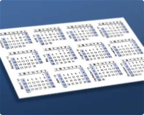 print yearly calendar business card