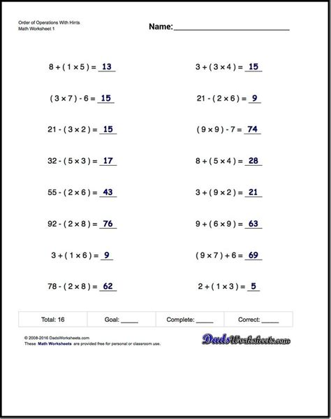 If You Are Looking For Order Of Operations Worksheets That Test Your Pemdas Acumen, These Math