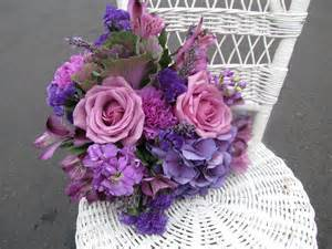 Lavender Purple Rose and Carnation Wedding Bouquets