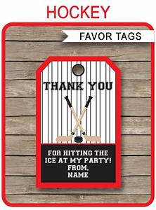 Thank You Gift Tag Template Hockey Birthday Party Favor Tags Thank You Tags