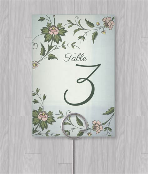 watercolor flowers table number template  print