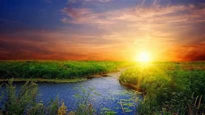 Sunrise Swamp Sun Rays Cloud Wallpapers Grass