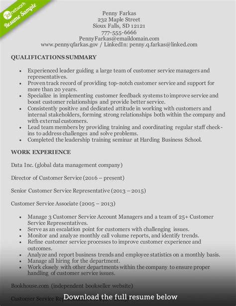 Summary Of Qualifications Customer Service by Customer Service Resume How To Write The One