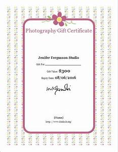 Photography Gift Certificate Template for WORD | Document Hub