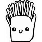 Fries Kawaii French Coloring Pages Drawing Clipart
