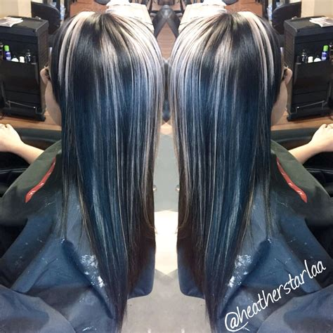 All Over Black Hair With Chunky Platinum Blonde Highlights