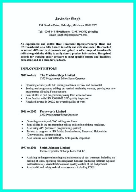 awesome writing  qualifications  cnc machinist
