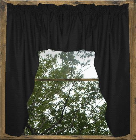 Solid Black Colored Swag Window Valance (optional center