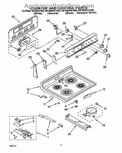 Parts For Whirlpool Rf366pxyw0  Cooktop And Control  Lit