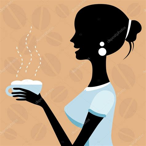 Dibujos: silueta mujer tomando cafe una ilustración