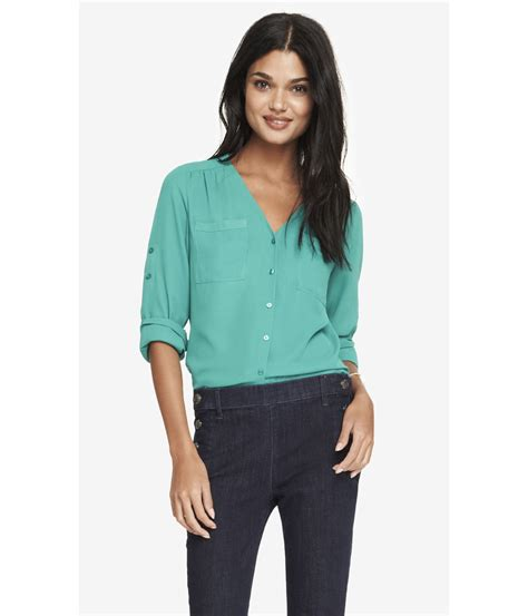 express gathered  neck blouse  green lyst