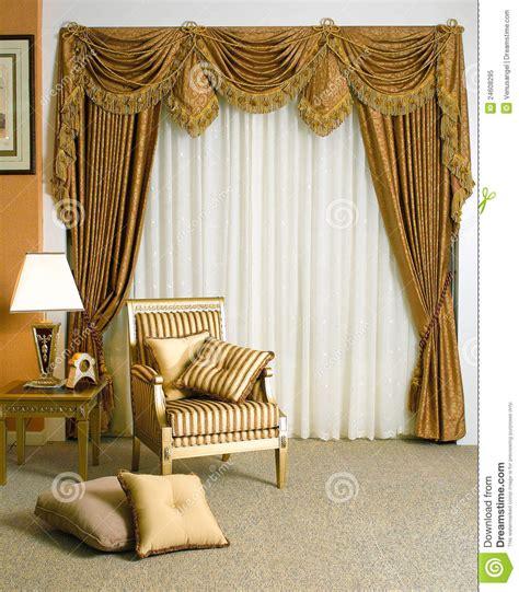 beautiful curtain  living room stock image image