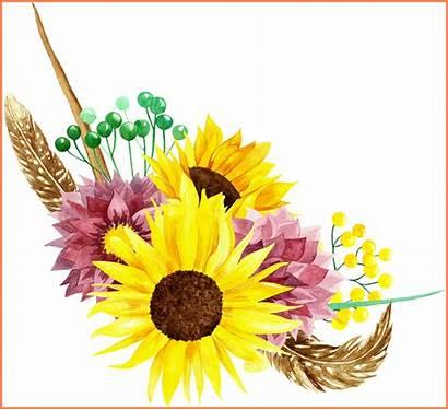 Clipart Flower Watercolor Sunflower Bouquet Flowers Inspiring