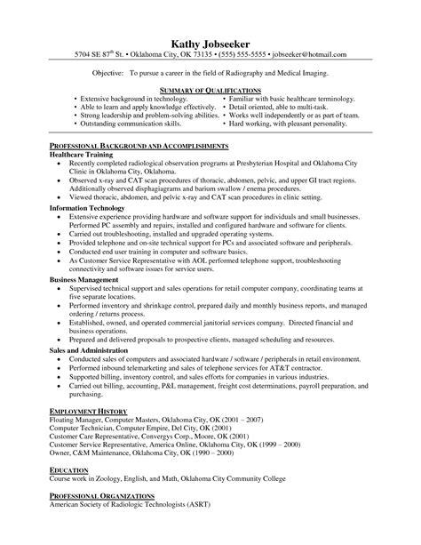 Rad Tech Resume  Free Excel Templates