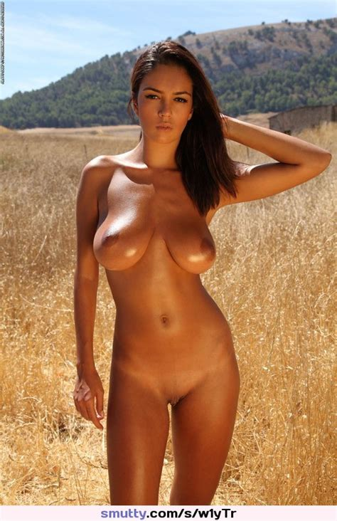Beautiful Sexy Brunette Naked Outdoors Bigboobs