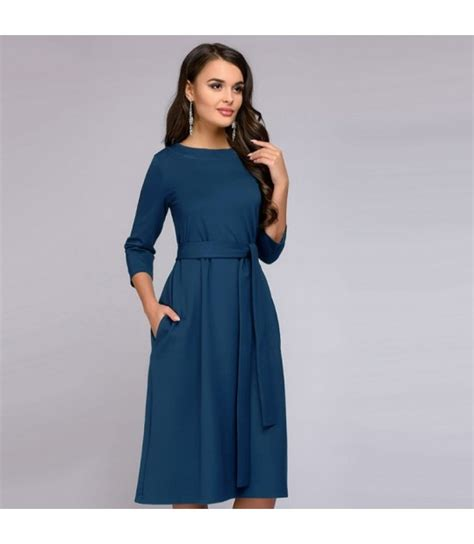 Women Vintage Sashes A Line Party Dress Long Sleeve Solid