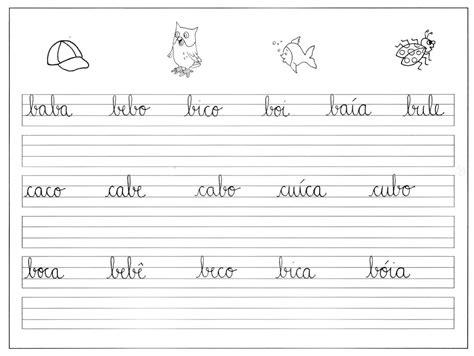 atividades para treinar letra cursiva