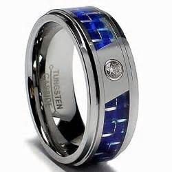 BLUE AFFINITY TUNGSTEN CARBIDE CZ RING