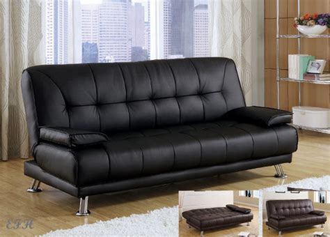 black leather sofa futon new benson black or brown bycast leather futon sofa bed ebay