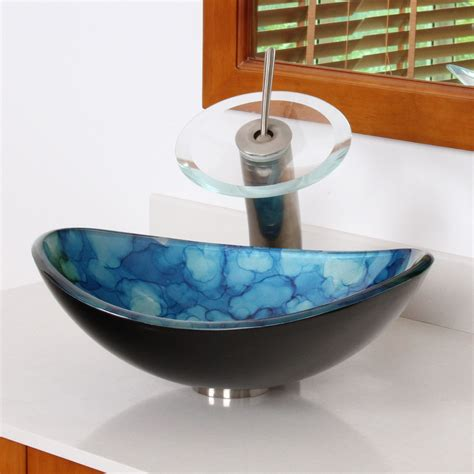 high end kitchen faucet elite 1413 unique oval cloud style tempered glass bathroom