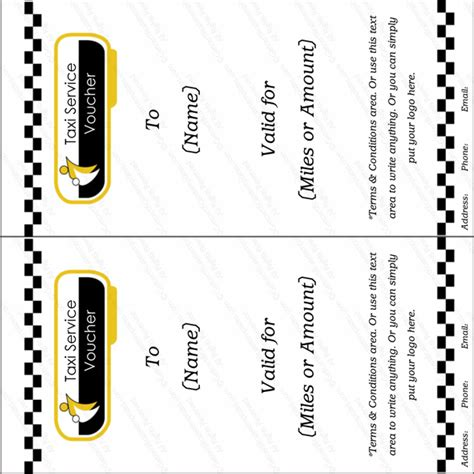 taxi service gift voucher template  certificate templates