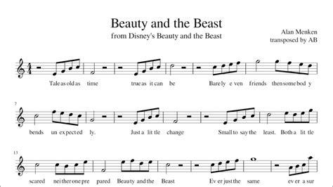 beauty   beast sheet   alto sax cover