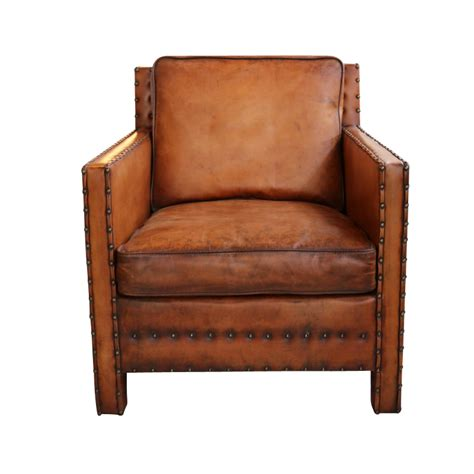 worn leather arm chair european design nailhead chair in distressed leather 1660