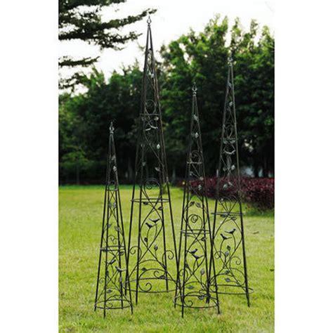 Wrought Iron Plant Stand Garden Topiary Trellis Set Of 4