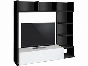 Meuble Tv Living : living tv 159 cm finition brillant leader coloris noir ~ Teatrodelosmanantiales.com Idées de Décoration