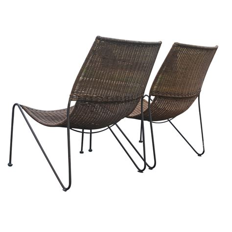 vintage wicker lounge chairs pair 1950s omero home
