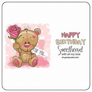 Happy Birthday Sweetheart Animated Bear Card