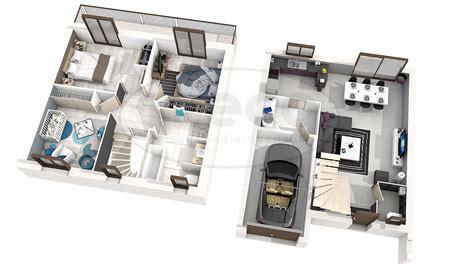 chambre en 3d plan dune maison en 3d avec 5 chambre maison moderne