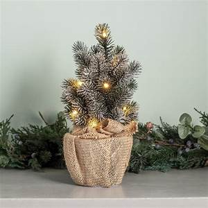 30cm Pre Lit Frosted Mini Christmas Tree