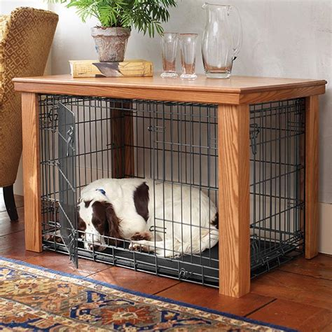 wooden table dog crate cover