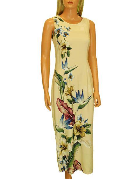 Long Maxi Hawaiian Dress Birds of Paradise Hibiscus Design: Shaka Time Hawaii Clothing Store