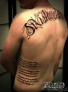 Name Designs On Lower Back 66 Cool Lettering Tattoos For Back