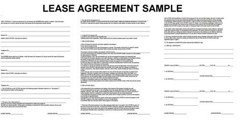 lease agreement sample 20 lease agreement templates word excel pdf formats